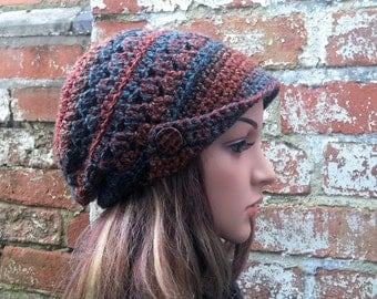 Colourful newsboy hat with buttons . Crochet newsboy beanie hat , Women's newsboy cap . Crochet beret peaked hat