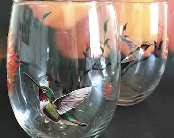 Hummingbird Wine Glass Hand Painted Floral Tree Summer Bird Unique Artisan Stemware Nature Love Gift Colorful Exotic Pets Seasonal Barware