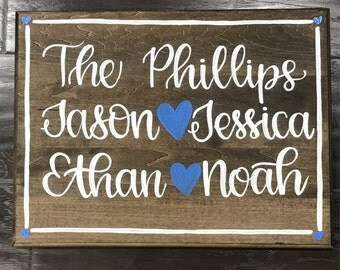 Handpainted Wood Sign // Family Wood Sign // Personalized Housewarming Gift // Family Name Sign // Modern Calligraphy Wood Sign