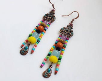 Copper earrings, Bohemian earrings, Tribal boho jewelry, Boho chandelier earrings