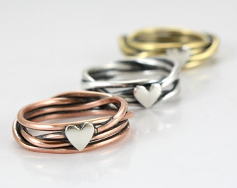 Rose Gold Ring/ Gold/ Silver - Made of Sterling Silver/ Copper/ Brass Ring with heart- Anniversary Gift- Love Ring- Best gift - Couples ring