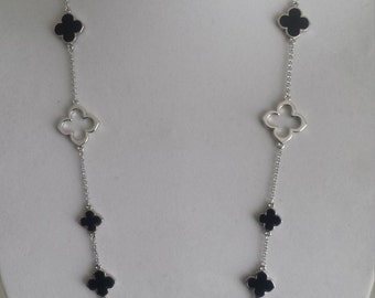 """Rhodium Plated Clover Necklaces,36"""" Long,Black color clover,Silver open clover,four leaf clover,Valentine's Day gift/Mother's day gift"""