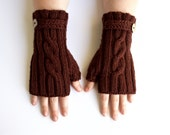 Fingerless Mittens | With Thumbs | Faux Button Strap | Cable Knit Fingerless Gloves | Anti-Pilling Mitts | The JAMMIN' Fingerless Mitts