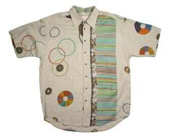 Vintage 90's HAUPT Abstract Multi-Color Circular Motif Short Sleeve Button Front Shirt - Men's Sz. XL