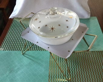 Free Shipping Federal Glass Chafing Dish Casserole Ovenware Gold Atomic Starburst Rodney Kent Starline Metal Stand