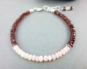 Pink Peruvian Opal & Garnet Chakra Bracelet, Root Chakra / Heart Chakra, Beaded January Birthstone Bracelet, Healing Crystals, Gift for Her