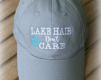 Lake Hair Don't Care ballcap- Ladies Lake Baseball Cap-Summer Cap-Lake Hair Don't Care Baseball hat-You choose colors