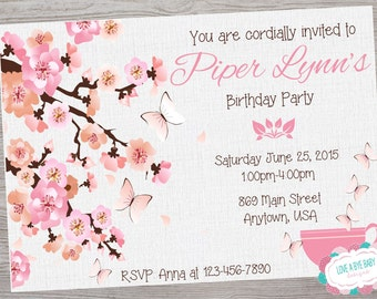 Garden Tea Party Butterfly cherry blossom  birthday bridal wedding party shower invitation. printable. digital download