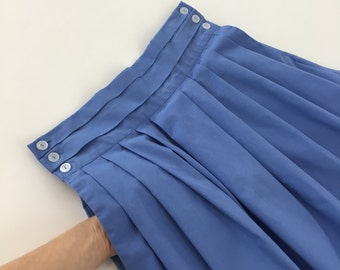 Oxford Blue Skirt with Front Pleats and Pockets