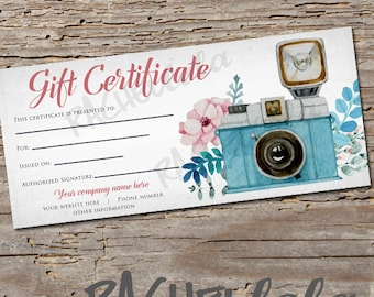 Custom, Floral Camera, printable Gift Certificate template, spring, direct sales, photography session voucher, gift card, digital download