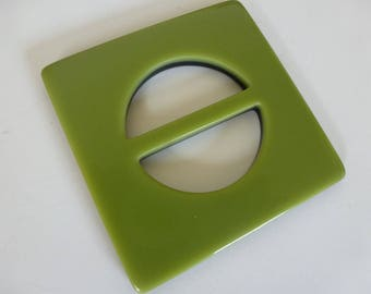 A 3 inch square slider buckle in soft glossy green, backed with black; I have 11 of them for  any craft project you may dream up!