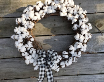 Large 18 inch Farmhouse Natural Cotton ball Wreath Home Decor Rustic Cotton and Grapevine Wreath buffalo plaid bow
