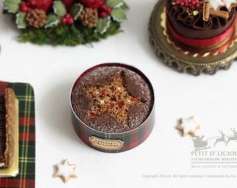 Classic Christmas Fruit Cake in 1/12th miniature dollhouse Christmas Cake