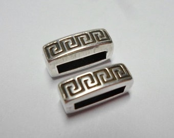 2 Sterling Silver Plated 10mm Bars, High Quality Meander Sliders, Leather cord, Flat Leather Finding, Jewelry supplies,