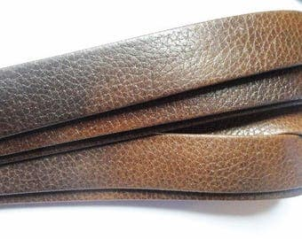 Pre Cuts:   Flat 20mm Textured Brown Genuine Nappa Flat Leather Cord, finding, jewelry making craft supplies,