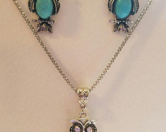 Silver & Turquoise Filigree Owl Necklace and Earring Set
