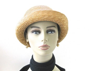 Vintage Straw Boater Hat • Black Ribbon Band •  Ladies Natural Straw Bowler