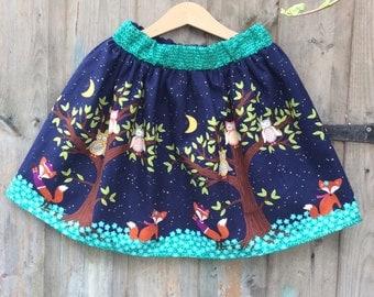 Tree print gathered skirt