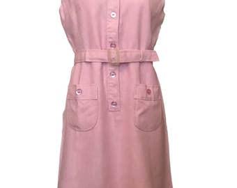 Vintage 1960s Dress Swiss Made Pink Linen Shift Mod Dress 12 / 14