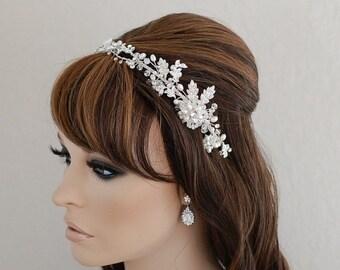 Pearl Headband Bridal Headpiece Head Band Bridal Hair Accessories Wedding Accessory Bride Jewelry Beaded Hairpiece Tiara Hairband