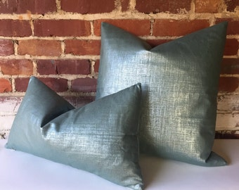 Metallic Linen Pillow Cover in Teal/Silver Platinum/silver or Copper/gold  12x18 12x21 16x16 18x18 20x20 16x26 22x22 24x24 26x26-345Y