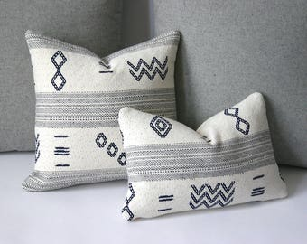 Swedish Style Ivory Grey Navy Decorative Throw Zipper Pillow Cover Ski Lodge Decor Alpine Pillow Cover 12x18 18x18 22x22 26x26 and more-1926
