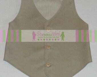 Ring Bearer Vest TAN Infant Toddler Boys Sizes thru Youth 10