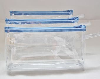 Clear Vinyl Zipper Pencil Pouch 7.5 x 4 Inch with 2 inch Gusseted Bottom in 12 Gauge Vinyl