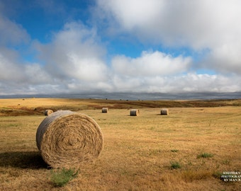 Prairie Photography, Landscape Art, Hay Bales in Field, Great Plains Print, Rural Life Photo, Hay Bales, Photo of Hay Bales, Open Spaces Art