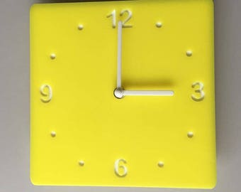 Rounded Corner Square Yellow & White Clock - White Acrylic Back, Yellow Gloss Finish Acrylic with White hands, Silent Sweep Movement