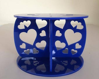 "Hearts Round Blue Gloss Acrylic Cake Pillars / Cake Separators, for Wedding / Party Cakes 10cm 4"" High, Size 6"" 7"" 8"" 9"" 10"" 11"" 12"""