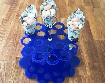 """Round Blue Gloss Finish Acrylic Wedding Favours/Sweets Cone Stand & Silver Metal Round Handle Rod, 21cm 8.5"""" Diamater, 18 holes 3.5cm 1.5"""""""