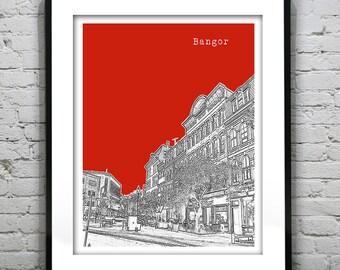 Bangor Maine Skyline Poster Art Print Version 2