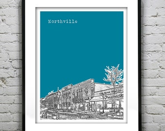 Northville Michigan City Skyline Poster City Art Print MI