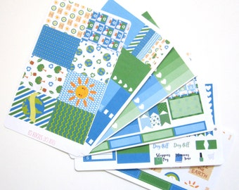 Earth Day Planner Stickers, Vertical Weekly Kit, Matte Removable, Environment, Save the Earth, Recycle