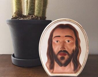 Porcelain Jesus Head Plaque