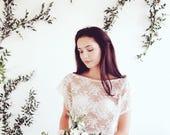 Bridal lace bolero  cover up  crop top  bridal separates  lace sheer sz small  ready to wear bohemian wedding woodlands wedding