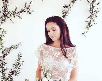 Bridal lace bolero - cover up / crop top - bridal separates - lace, sheer, sz small - ready to wear, bohemian wedding, woodlands wedding