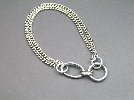 Chunky Chain Industrial Statement Necklace in Silver with Rhodium Plated Stainless Steel