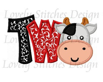 Cow Birthday Number TWO Applique Machine Embroidery Design NO:0611