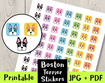 On SALE!- Dog Stickers, Boston Terrier Stickers, Printable Stickers, Digital Planner Stickers, Cute Stickers | Life Planner + Others