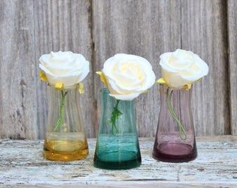 Set of Three Round Coloured Mini Vases