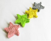 Crocheted stars, 4.5 cm appliques, colorful mix, 12 pc.