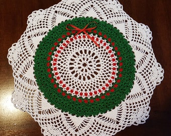 Christmas Wreath Hand Crocheted Doily
