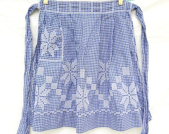Mid Century Blue Gingham Embroidered Apron Retro Womens Half Apron Vintage 50s 60s Clothing Handmade Cotton