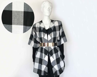 The Check Please Big Checkerboard Vintage 80s Jacket Black White Check Cotton Strong Shoulder Oversized Womens Top Tunic Blazer O/S