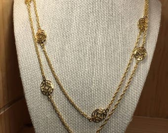 Yellow Gold Plated Station Chain Double Wrap Necklace