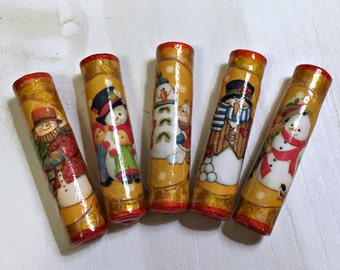 Snowman Paper Bead Set Handmade Beads for Pens and other Beadable Products