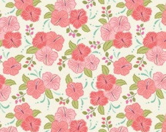 Peach Hibiscus, Island Girl, Lewis & Irene, tropical, summer, fabric by the yard, floral, Hawaii, quilting cotton, island princess