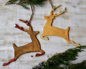 Christmas deer ornament Christmas tree decor Christmas decoration Wood reindeer Christmas gift Stocking stuffer Secret Santa Holiday Decor